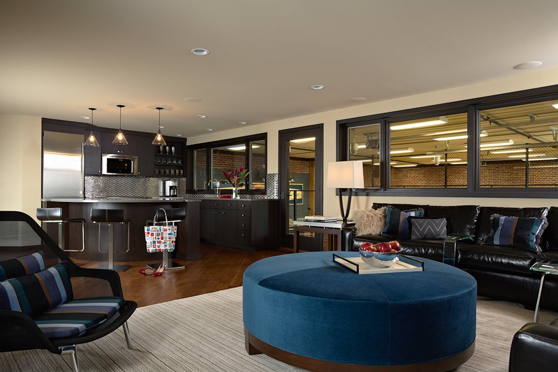 Twist Interior Design - Vintage Garage upper level bar room