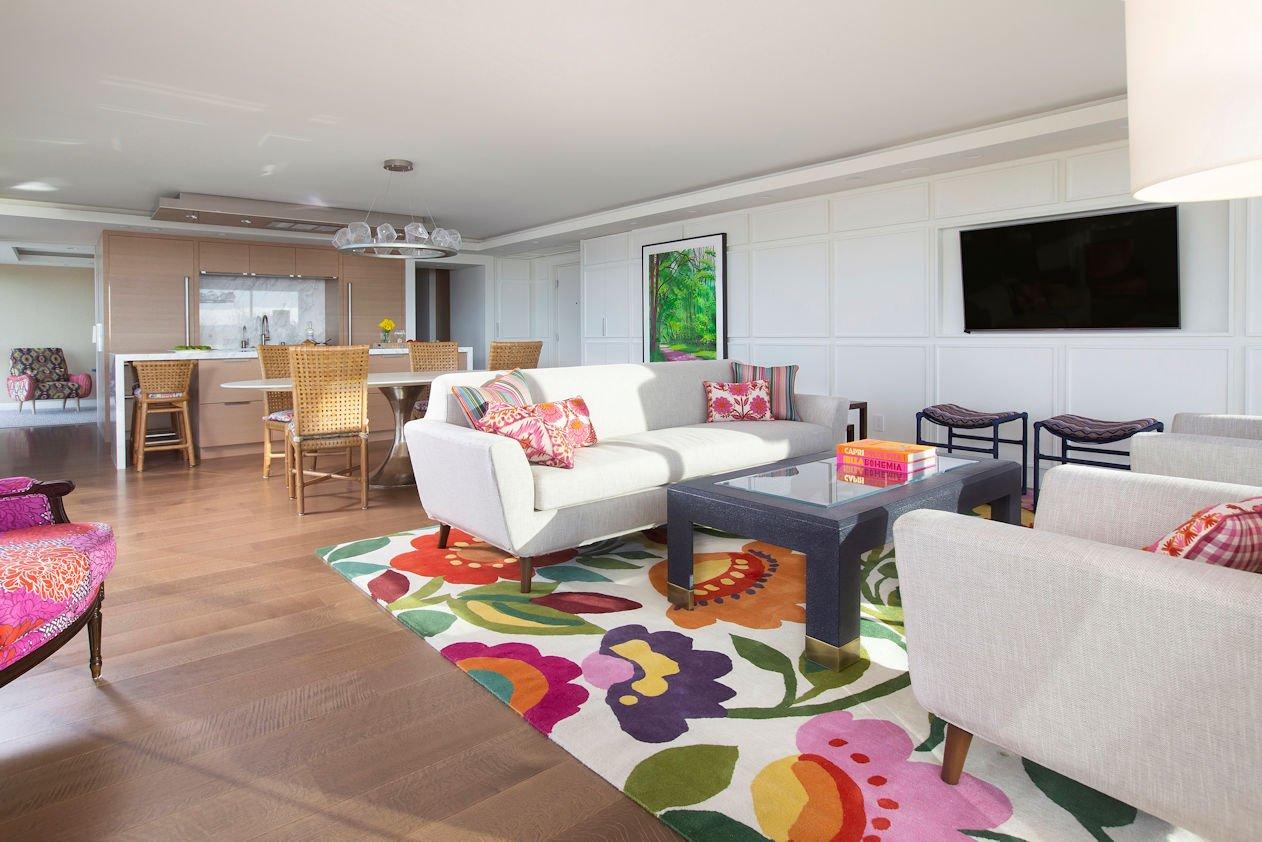 open floor plan in Hockney Meets Mexico condo by Twist Interior Design