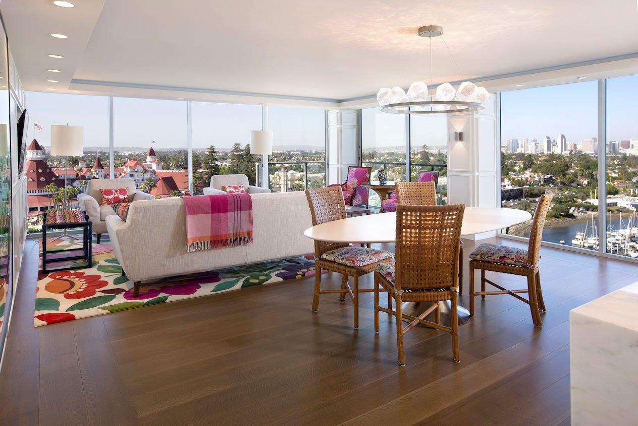 great room in Hockney Meets Mexico condo by Twist Interior Design