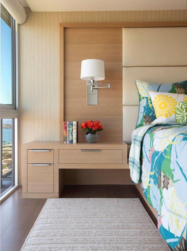 master bedroom in Hockney Meets Mexico condo by Twist Interior Design