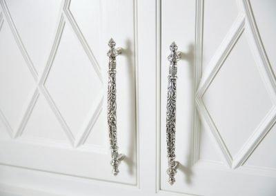 closet handle detail in Regal Retreat bathroom by Sandy LaMendola of Twist Interior Design