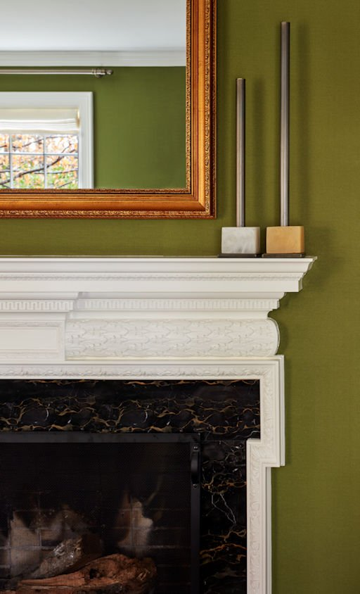 Traditionally Modern fireplace detail designed by Sandy LaMendola