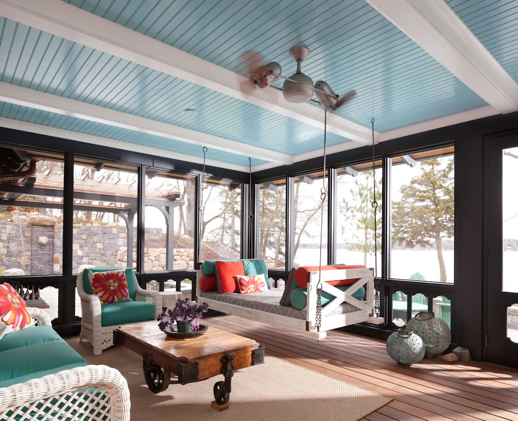 Lakeside Retreat sunroom by Twist Interior Design